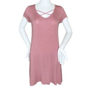 4/$25 Rolla Coster Pink Striped Shirt Dress- S